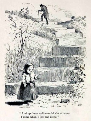 Page 58, The Stonen Steps, illustration by Winslow Homer, Rural Poems by William Barnes, published by Boston, Robert Brothers 1869
