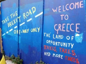 Greek Graffiti in Athens, Taxes and Brexit - Image Credit: Jim Potts © 2018