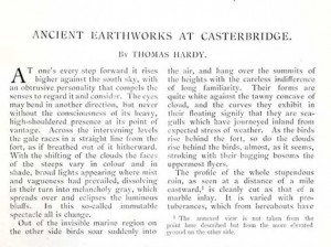 Ancient Earthworks at Casterbridge by Thomas Hardy, 1893
