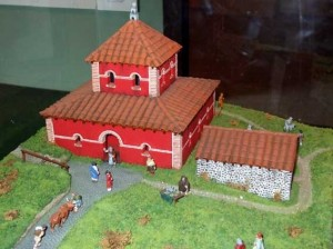 Model of the Roman Temple at Maiden Castle by Julian Straw 1994 on display at the Dorset County Museum