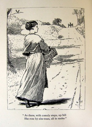 Page 51, Not Far To Go, illustration by Winslow Homer, Rural Poems by William Barnes, published by Boston, Robert Brothers 1869